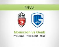 Pronóstico Mouscron Genk (16 enero 2021)
