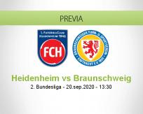 Pronóstico Heidenheim Eintracht Braunschweig (20 septiembre 2020)