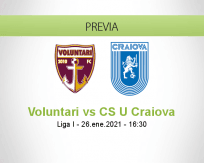 Pronóstico Voluntari CS U Craiova (26 enero 2021)
