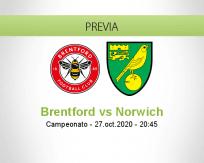 Pronóstico Brentford Norwich City (27 octubre 2020)