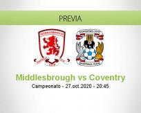 Pronóstico Middlesbrough Coventry City (27 octubre 2020)