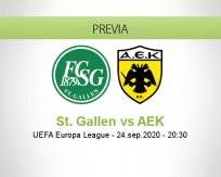 Pronóstico St. Gallen AEK Athens (24 septiembre 2020)