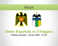 Pronóstico Unión Española O'Higgins (23 noviembre 2020)