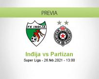 Pronóstico Inđija Partizan (26 febrero 2021)