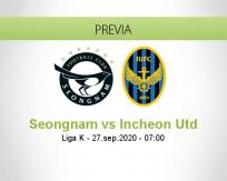 Pronóstico Seongnam Incheon United (27 septiembre 2020)