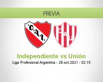 Pronóstico Independiente Unión (25 octubre 2021)