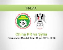 Pronóstico China PR Syria (15 junio 2021)