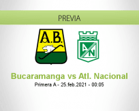 Pronóstico Bucaramanga Atl. Nacional (24 febrero 2021)
