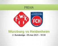 Pronóstico Würzburg Heidenheim (05 marzo 2021)