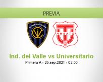 Pronóstico Ind. del Valle Universitario (24 septiembre 2021)