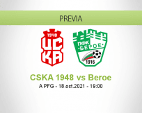 Pronóstico CSKA 1948 Beroe (18 octubre 2021)