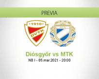 Pronóstico Diósgyőr MTK (05 marzo 2021)