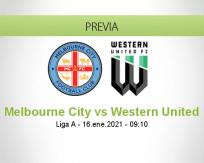 Pronóstico Melbourne City Western United (16 enero 2021)