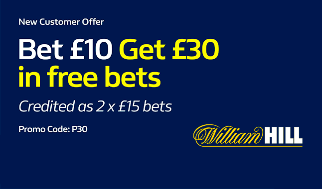 William Hill - Bet £10 and win £30 in Free Bets (T&C apply)