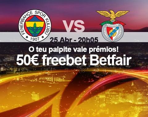 Acerta no resultado do Fenerbahce vs Benfica e ganha um prémio de 50€