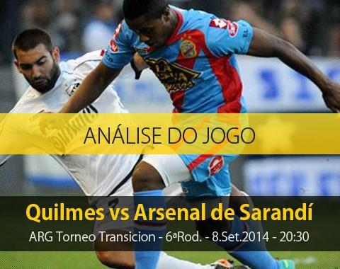 Análise do jogo: Quilmes X Arsenal de Sarandí (8 Setembro 2014)