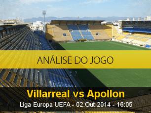 Análise do jogo: Villarreal vs Apolon Limassol (2 Outubro 2014)