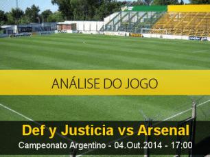 Análise do jogo: Defensa y Justicia vs Arsenal de Sarandí (4 Outubro 2014)