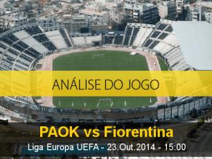 Análise do jogo: PAOK X Fiorentina (23 Outubro 2014)