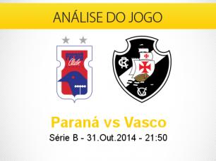 Análise do jogo: Paraná X Vasco (31 Outubro 2014)