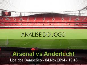 Análise do jogo: Arsenal vs Anderlecht (4 Novembro 2014)