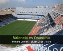 Prognóstico Valencia Osasuna (21 Janeiro 2021)