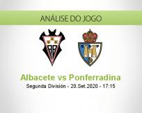 Prognóstico Albacete Ponferradina (20 Setembro 2020)