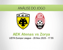 Prognóstico AEK Atenas Zorya (26 Novembro 2020)