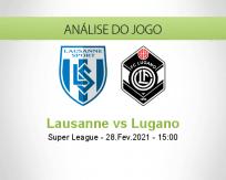 Prognóstico Lausanne Lugano (28 Fevereiro 2021)