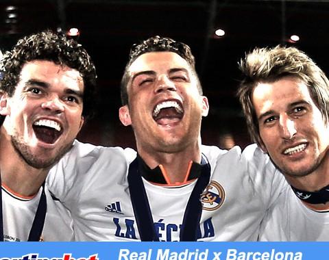 Se um dos portugueses marcar no Real Madrid vs Barcelona ganhas um bónus de 100%