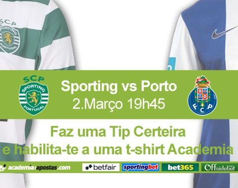 Tips certeiras no Sporting vs Porto valem t-shirts Academia