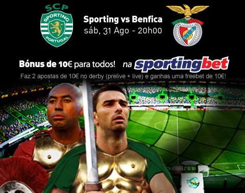 Aposta no Sporting v Benfica e ganha uma freebet de 10€