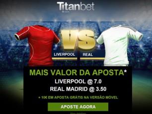 Liverpool vs Real Madrid (22 Outubro): o melhor prêmio para apostar nestas equipes